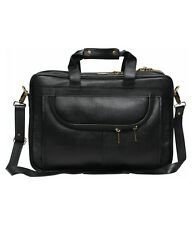 LEATHER COLLECTION 16 inch 100 % genuine Leather Laptop Messenger Bag(Black)