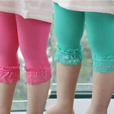 Toddler Kids Girls Lace Velvet Leggings Ballet Stretch Cropped Pants 4-8 Years
