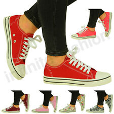 NEW WOMENS SHOES LADIES FLAT LACE UP CANVAS TRAINERS SNEAKERS PLIMSOLLS SIZE UK