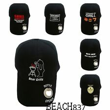 Mens adults Funny BBQ Novelty Black Baseball Peak Caps Hats with Bottle Opener