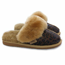 New Ladies Premium 100% Pure Twinface Sheepskin Leopard Mules Slippers EVA Sole
