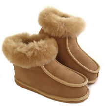 New Ladies Women's Premium 100% Pure Twinface Sheepskin Boots Slippers EVA Sole