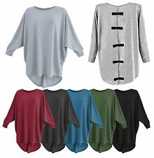 NEW WOMENS LADIES DIAMANTE BOW BACK DIP HEM CASUAL BATWING TOP PLUS SIZE 8-24