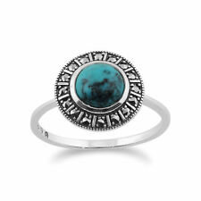 925 Sterling Silver Art Deco 0.97ct Turquoise & Marcasite Ring