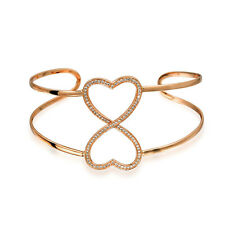 Bling Jewelry Rose Gold Plated Silver CZ Open Heart Infinity Cuff Bracelet