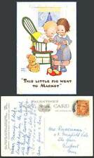 MABEL LUCIE ATTWELL 1950 Old Postcard Teddy Bear, Little Pig Went to Market 1169