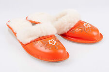 Ladies/Women`s 100% Natural leather & sheepwool warmed slippers size:3,4,5,6,7,8