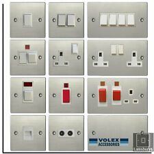 Volex Flat Stainless Steel Light Switches and Electrical Sockets White Insert