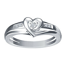 White Platinum Plated 925 Silver White Real Diamond Stunning Heart Shape Ring
