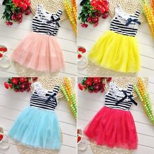 Baby Kid Summer Party Pageant Sleeveless Tutu Skirt Stripe Lace Tulle Dress 2-6T