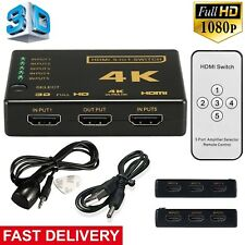 1080/3840p 5 Port HDMI Switch Switcher Splitter Full HD HDTV DVD PS3 +IR Remote