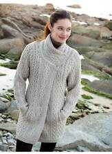 Aran Crossover Neck With Buttons Coat Parsnip