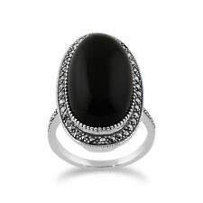 gemondo Argento Sterling onice nera & marcasite ART DECO OVALE cocktail