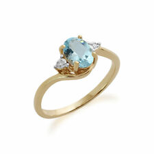 Gemondo 9ct Oro Giallo 0.97ct Topazio Blu E Diamanti Anello