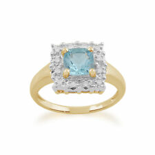 Gemondo 9ct Oro Amarillo 1.20ct Topacio Azul & Diamante Anillo