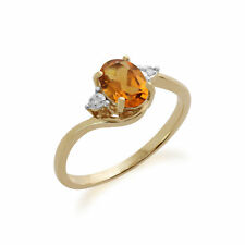 Gemondo 9ct Oro Amarillo 0.71ct Citrina Y Diamante Anillo