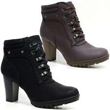 Ladies Womens Mid Block Heel Zip Up Military Combat Ankle Biker Boots Shoes Size