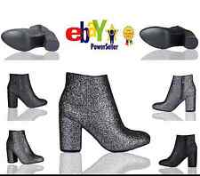 UK Ladies Party Shoes Glitter Chunky Block Low Heel Ankle Boots Chelsea Size 3-8