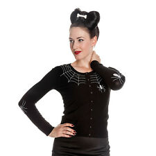 Hell Bunny Spider Embroidered Black Knitted Cardigan - Goth Style Knitwear