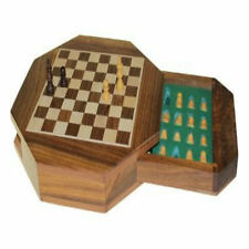 Hand carved wooden piece chess set-octagon shape-magnetic-with pull out storage