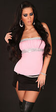 Sexy Glamour Bandeau Tube Top Pailletten S 34 M 36 L 38 Rosa Silber NEU