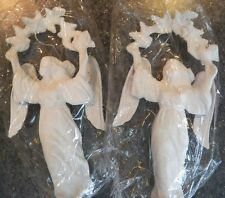 Lot of 2 Vintage Plastic WHITE ANGEL Christmas Ornaments NEW