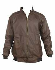 ANX Full Sleeve Self Design Semi Leather Jacket for Men's(Size=L)