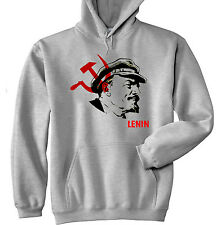 VLADIMIR LENIN SOVIET UNION - NEW COTTON GREY HOODIE - ALL SIZES IN STOCK