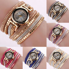 Women Fashion Faux Leather Multilayer Bracelet Analog Quartz Wrist Watch Posh