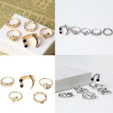 5pcs Set Urban Crystal Mid Midi Above Stack Knuckle Finger Band Ring Rings