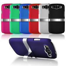 Samsung Galaxy S3 SIII I9300 Hybrid Stand Case Cover with Silver Chrome Design