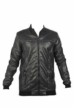 ANX Full Sleeve Self Design Semi Leather Jacket for Men's(Size=M)