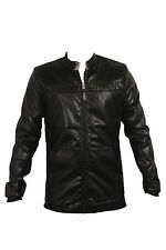 ANX Full Sleeve Self Design Semi Leather Jacket for Men's(Size=XL)