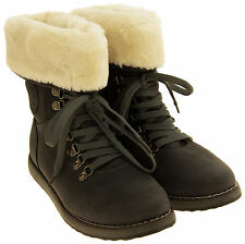 Womens Keddo Faux Leather Grey Ankle Boots Faux Fur Lined Boots Size 3-7