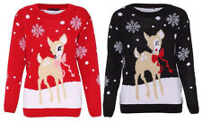 New Womens Ladies Christmas Novelty Baby Deer Bambi Knitted Pull Over Jumper Top