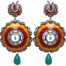 Emerald & Tourmaline Gemstone Earrings With Enamel Work-SE1094