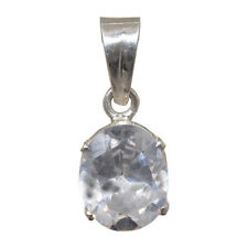 white zircon stone studded pendant in .925 sterling silver-SP1566