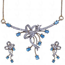 blue & white topaz gemstone studded necklace set in .925 sterling silver-SN1016