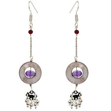 Mother of Pearl, Garnet, Amethyst & Spinel Gemstone Earring In Silver-ES1545