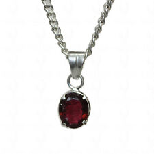 2 cts red garnet oval shaped gemstone pendant in .925 sterling silver-SP1182