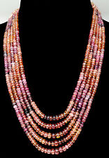 5 Rows Multi Tourmaline Gemstone Faceted Bead Necklace-NS1397