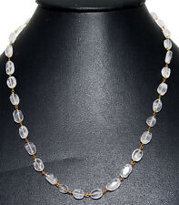 """18"""" rock-crystal oval bead chain in .925 sterling silver-CS1064"""