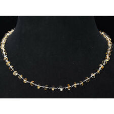 """18"""" inches citrine gemstone bead chain in .925 sterling silver-CS1096"""
