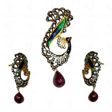 peacock theme ruby & topaz victorian style pendant set in .925 silver-SP1025