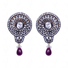 Pearl, Ruby & White Sapphire Studded Earrings In 925 Sterling Silver-SE1220