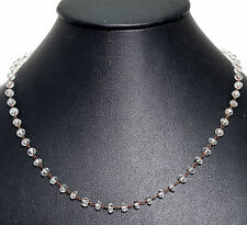 aquamarine faceted bead chain in .925 sterling silver-CS1059