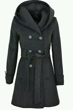 Womens Ladies New Winter Double Breasted Belted Hooded Coat Fashion Jacket grey