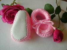 Hand made baby booties. Pink, Blue, White, Lilac. Leather soles. 4 sizes.