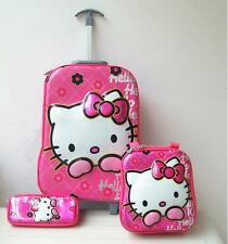 Hello Kitty 3pc. Pink Trolley High Quality PVC Suitcase Luggage Travel Sets