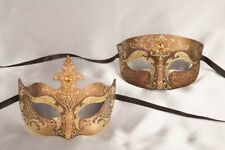 Luxury Masquerade Masks with Crystals for Couples - Gold